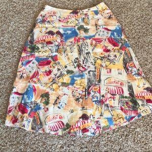 Vintage Liz Claiborne Linen Skirt Paris Cafe 4P